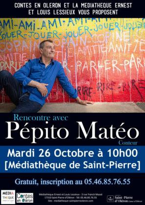 Rencontre avec Pepito Mateo le 26 octobre à la médiathèque de Saint-Pierre-d'Oléron