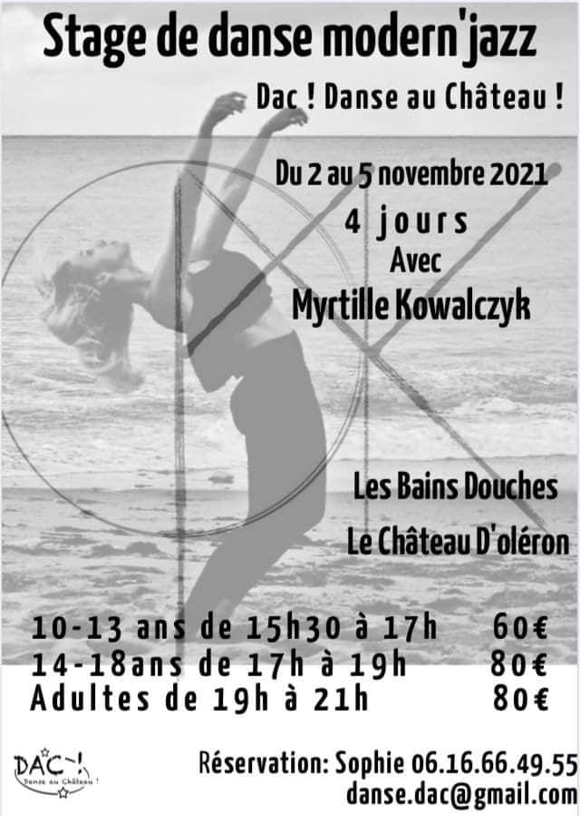 stage de danse modern'jazz du 2 au 5 novembre 2021 au Château-d'Oléron
