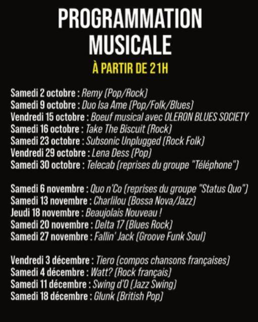 Programmation musicale de L'Échoppe jusqu'au 18 décembre 2021