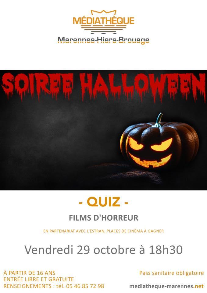 Soirée Halloween : Quiz films d'horreur  le 29 octobre 2021
