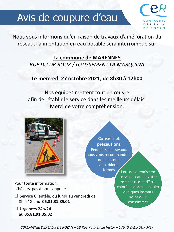 Avis de coupure d'eau les 25 & 27 octobre 2021 à Marennes-Hiers-Brouage