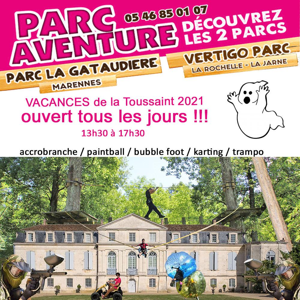 Parc Aventure la Gataudière : dates et horaires pour les vacances de La Toussaint 2021