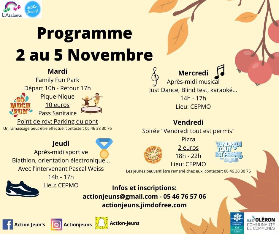 Action jeun's : programme du 2 au 5 novembre 2021