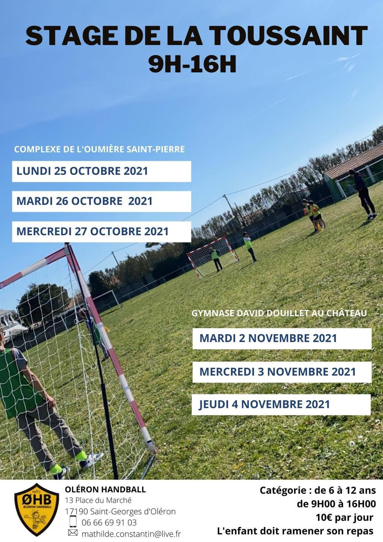Handball : stage de la Toussaint